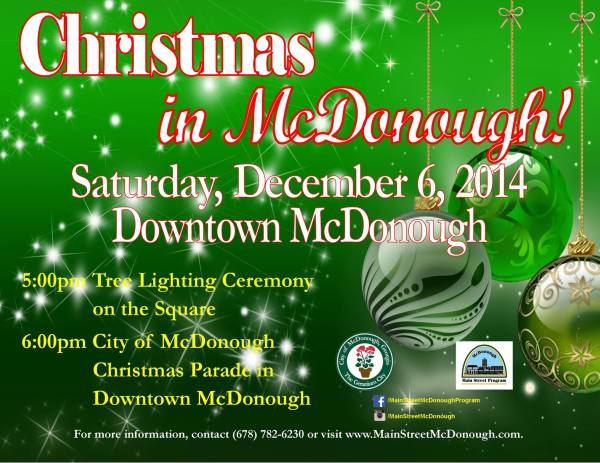 McDonough Christmas Parade, Tree Lighting